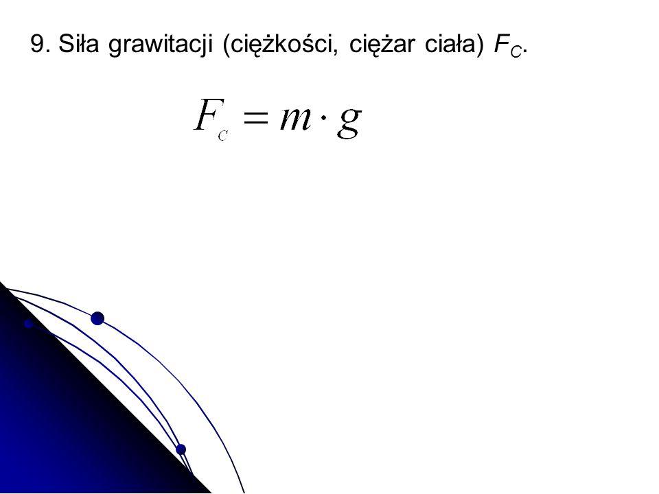 9. Siła grawitacji (ciężkości, ciężar ciała) F C.