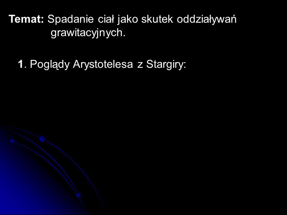 Temat: Spadanie ciał jako skutek oddziaływań grawitacyjnych. 1. Poglądy Arystotelesa z Stargiry: