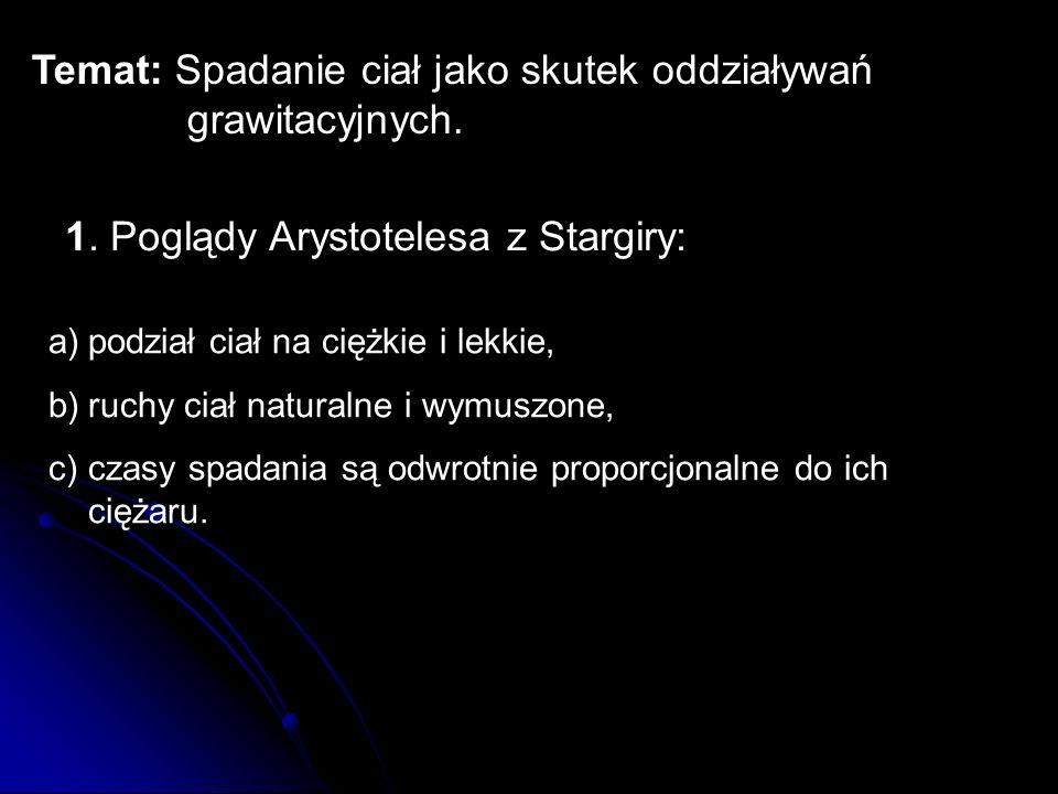 Temat: Spadanie ciał jako skutek oddziaływań grawitacyjnych. 1. Poglądy Arystotelesa z Stargiry: a)podział ciał na ciężkie i lekkie, b)ruchy ciał natu