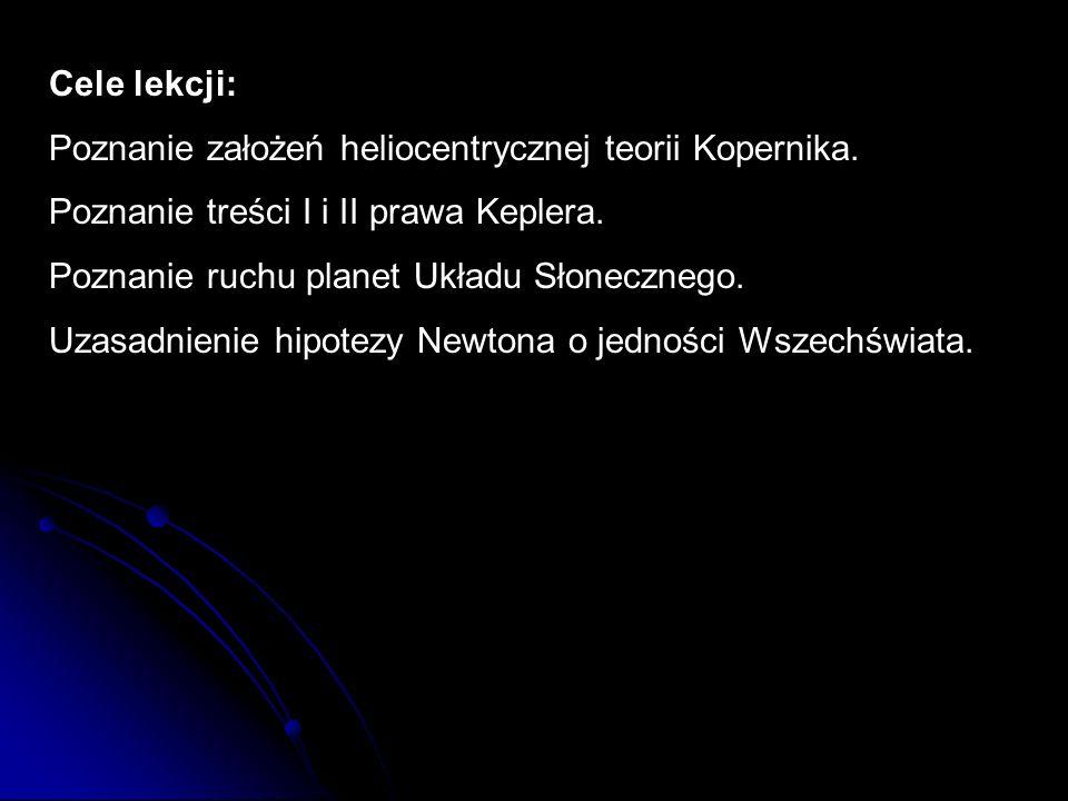 Cele lekcji: Poznanie założeń heliocentrycznej teorii Kopernika. Poznanie treści I i II prawa Keplera. Poznanie ruchu planet Układu Słonecznego. Uzasa
