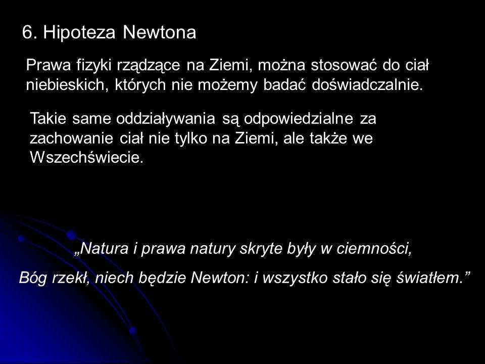 6. Hipoteza Newtona Prawa fizyki rządzące na Ziemi, można stosować do ciał niebieskich, których nie możemy badać doświadczalnie. Takie same oddziaływa