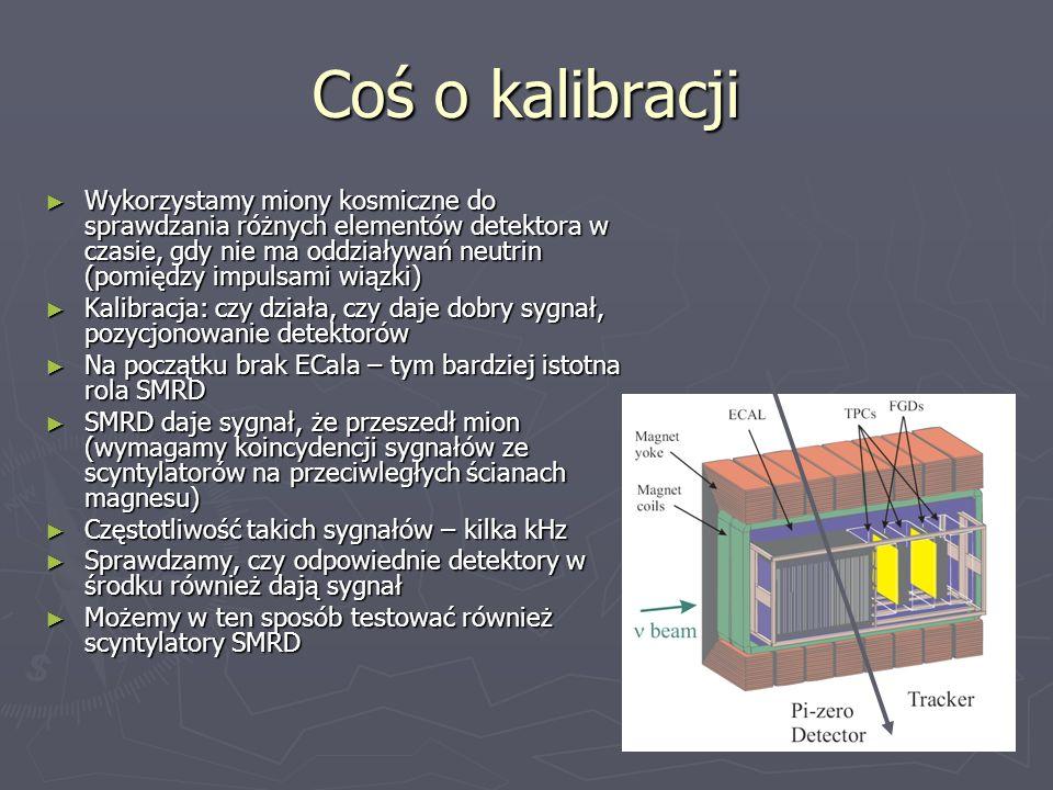 Coś o kalibracji Wykorzystamy miony kosmiczne do sprawdzania różnych elementów detektora w czasie, gdy nie ma oddziaływań neutrin (pomiędzy impulsami