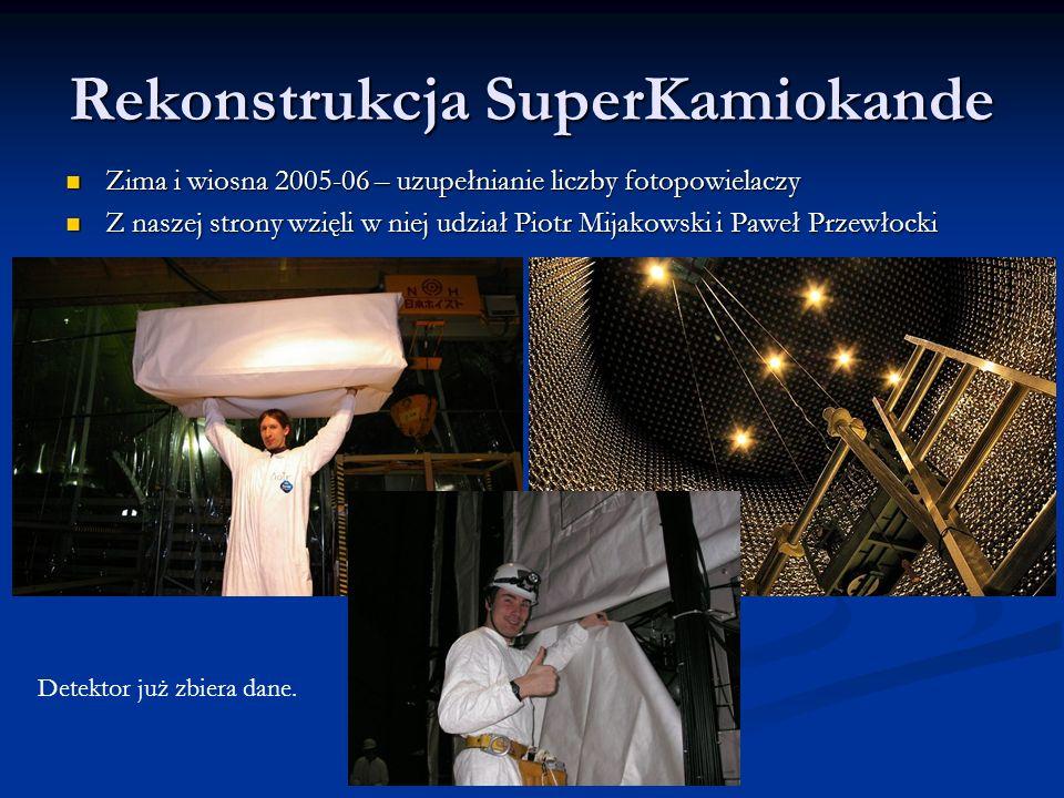 Rekonstrukcja SuperKamiokande Zima i wiosna 2005-06 – uzupełnianie liczby fotopowielaczy Zima i wiosna 2005-06 – uzupełnianie liczby fotopowielaczy Z naszej strony wzięli w niej udział Piotr Mijakowski i Paweł Przewłocki Z naszej strony wzięli w niej udział Piotr Mijakowski i Paweł Przewłocki Detektor już zbiera dane.