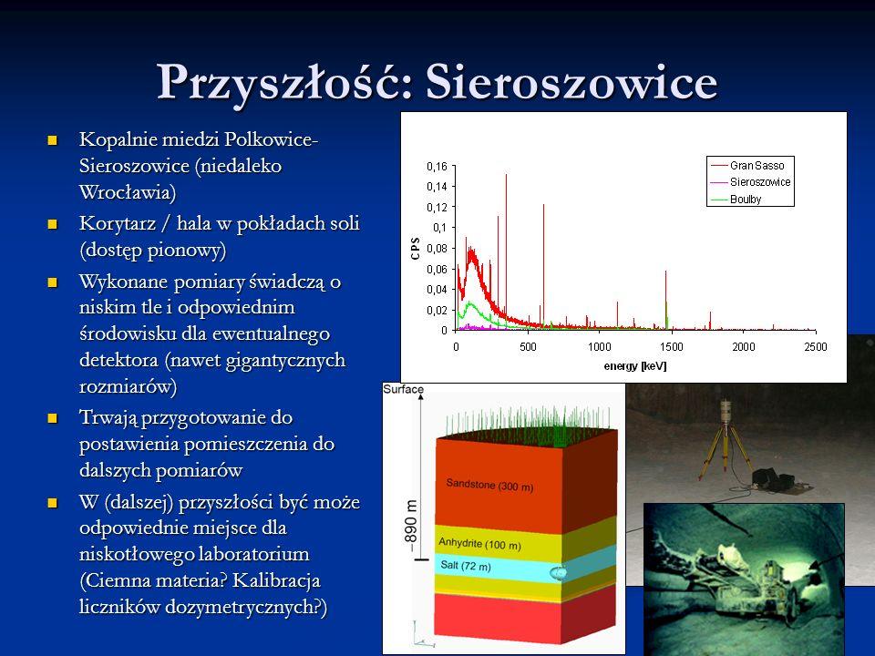 Przyszłość: Sieroszowice Kopalnie miedzi Polkowice- Sieroszowice (niedaleko Wrocławia) Kopalnie miedzi Polkowice- Sieroszowice (niedaleko Wrocławia) Korytarz / hala w pokładach soli (dostęp pionowy) Korytarz / hala w pokładach soli (dostęp pionowy) Wykonane pomiary świadczą o niskim tle i odpowiednim środowisku dla ewentualnego detektora (nawet gigantycznych rozmiarów) Wykonane pomiary świadczą o niskim tle i odpowiednim środowisku dla ewentualnego detektora (nawet gigantycznych rozmiarów) Trwają przygotowanie do postawienia pomieszczenia do dalszych pomiarów Trwają przygotowanie do postawienia pomieszczenia do dalszych pomiarów W (dalszej) przyszłości być może odpowiednie miejsce dla niskotłowego laboratorium (Ciemna materia.