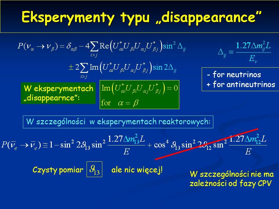 Eksperymenty typu disappearance Eksperymenty typu disappearance - for neutrinos + for antineutrinos W eksperymentach disappearnce: W szczególności w eksperymentach reaktorowych: Czysty pomiarale nic więcej.