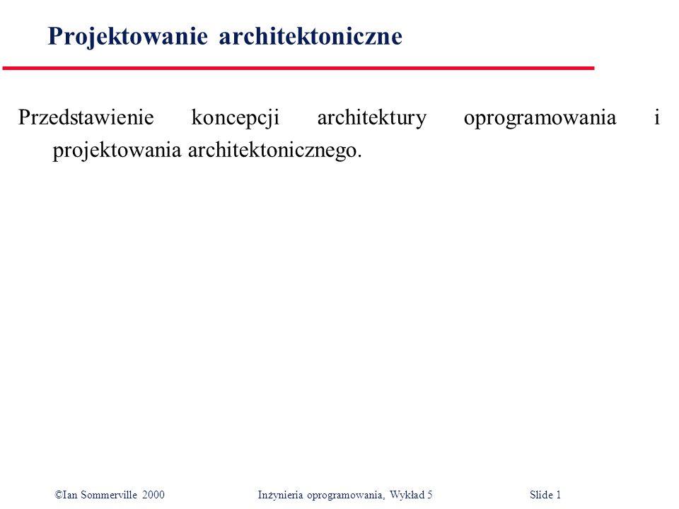 ©Ian Sommerville 2000 Inżynieria oprogramowania, Wykład 5 Slide 52 Główne tezy Architektura oprogramowania jest zasadniczym zrębem do strukturalizacji systemu.