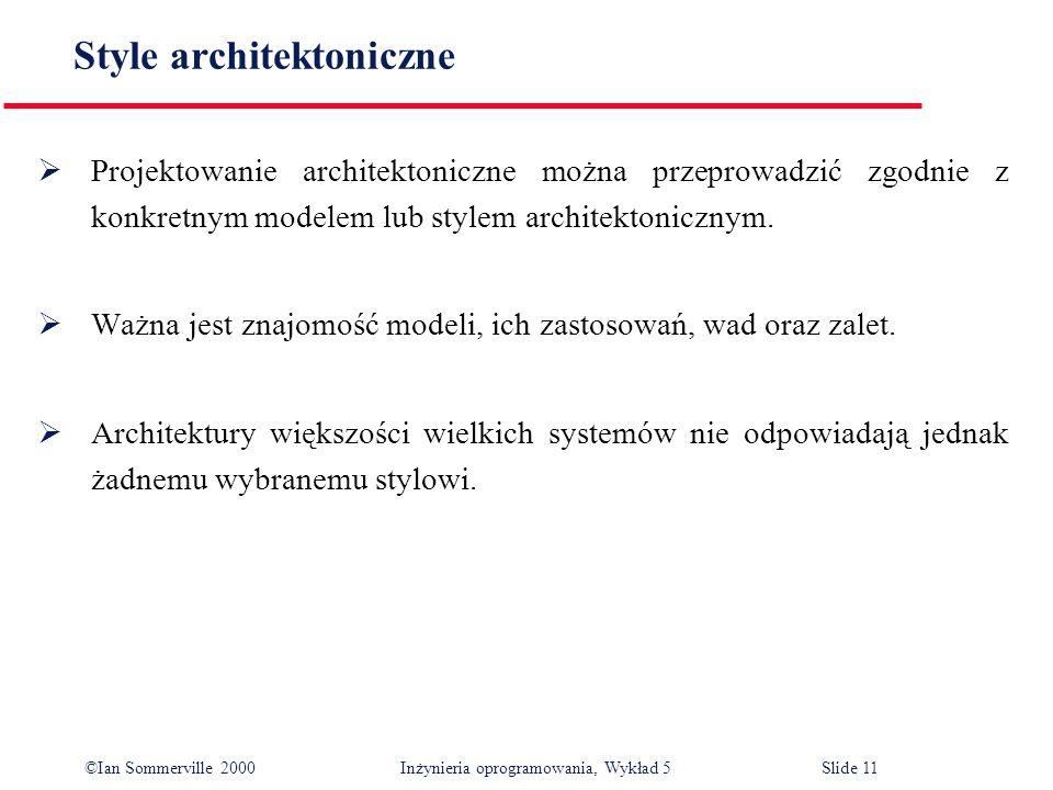 ©Ian Sommerville 2000 Inżynieria oprogramowania, Wykład 5 Slide 11 Style architektoniczne Projektowanie architektoniczne można przeprowadzić zgodnie z