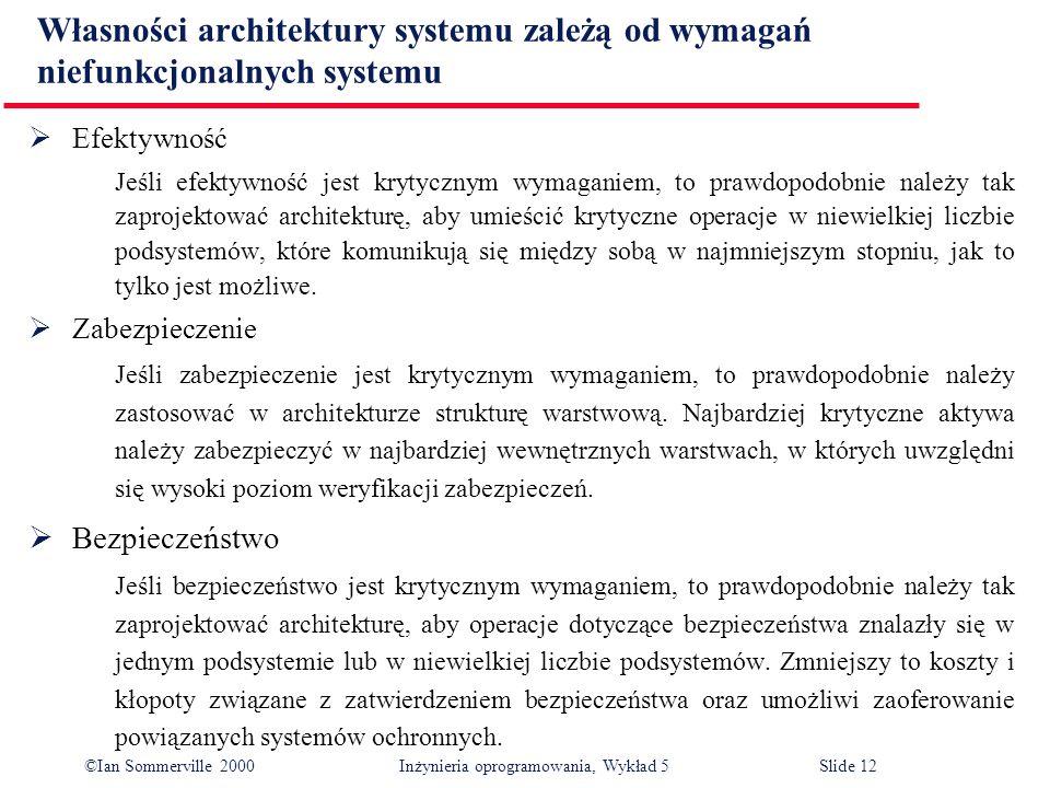 ©Ian Sommerville 2000 Inżynieria oprogramowania, Wykład 5 Slide 12 Własności architektury systemu zależą od wymagań niefunkcjonalnych systemu Efektywn