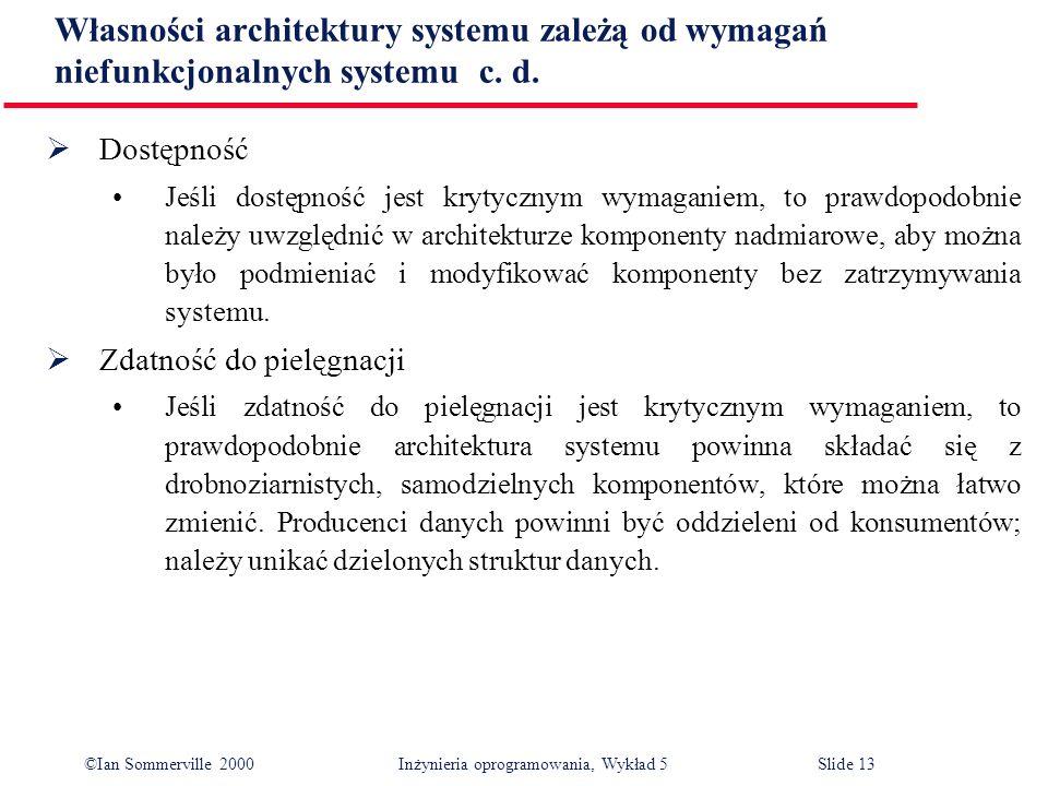 ©Ian Sommerville 2000 Inżynieria oprogramowania, Wykład 5 Slide 13 Dostępność Jeśli dostępność jest krytycznym wymaganiem, to prawdopodobnie należy uw