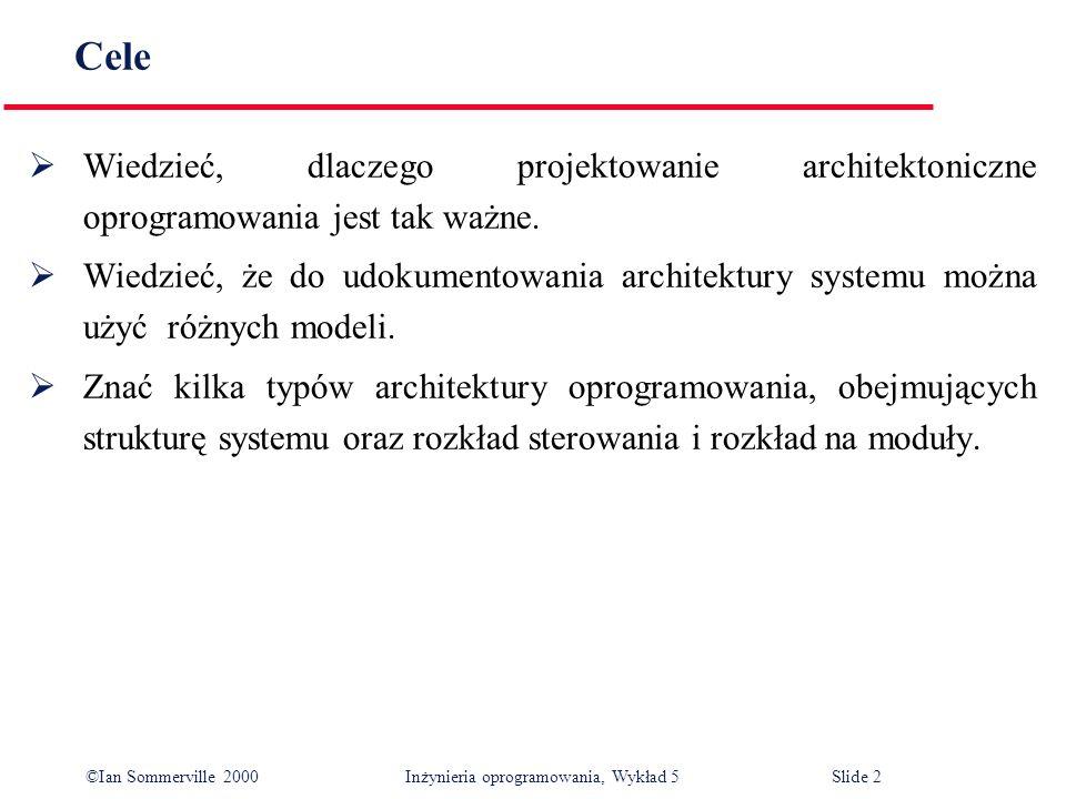 ©Ian Sommerville 2000 Inżynieria oprogramowania, Wykład 5 Slide 3 Zawartość Strukturalizacja systemu Modele sterowania Rozkład na moduły Architektury charakterystyczne dla różnych dziedzin