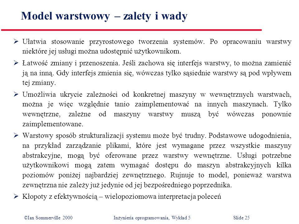 ©Ian Sommerville 2000 Inżynieria oprogramowania, Wykład 5 Slide 25 Model warstwowy – zalety i wady Ułatwia stosowanie przyrostowego tworzenia systemów