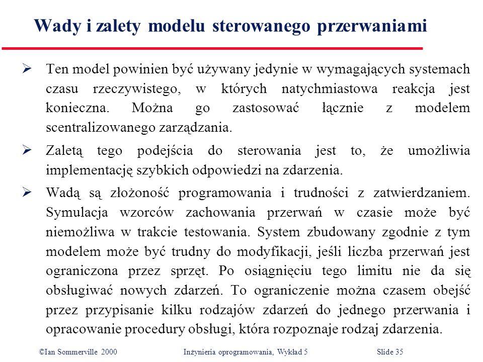 ©Ian Sommerville 2000 Inżynieria oprogramowania, Wykład 5 Slide 35 Wady i zalety modelu sterowanego przerwaniami Ten model powinien być używany jedyni