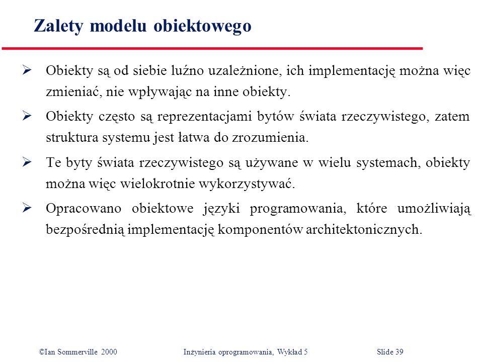 ©Ian Sommerville 2000 Inżynieria oprogramowania, Wykład 5 Slide 39 Zalety modelu obiektowego Obiekty są od siebie luźno uzależnione, ich implementację