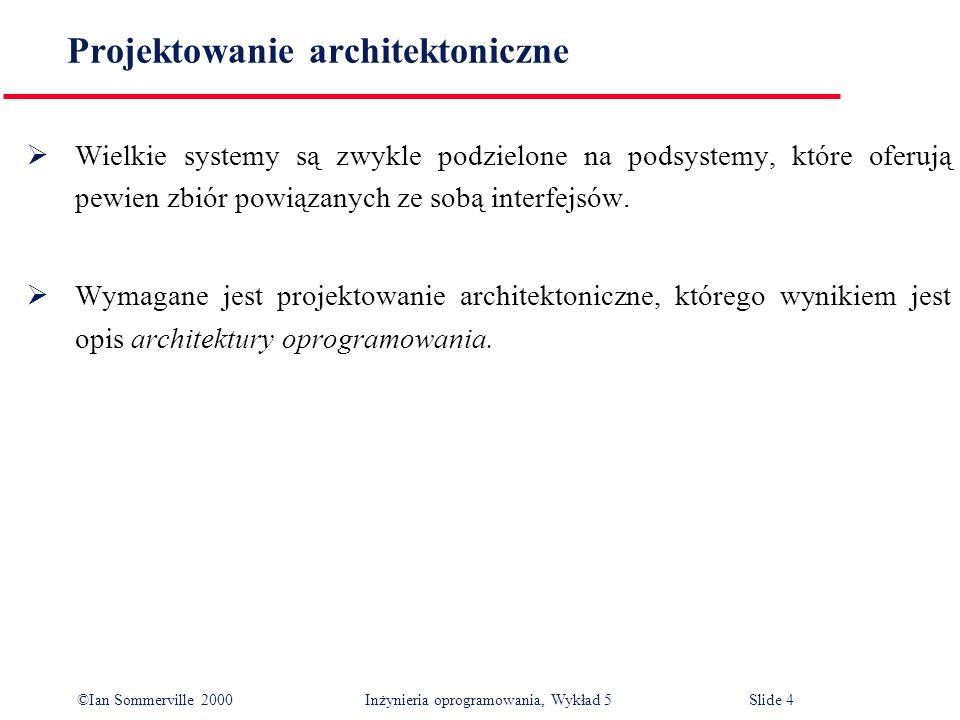 ©Ian Sommerville 2000 Inżynieria oprogramowania, Wykład 5 Slide 4 Projektowanie architektoniczne Wielkie systemy są zwykle podzielone na podsystemy, k