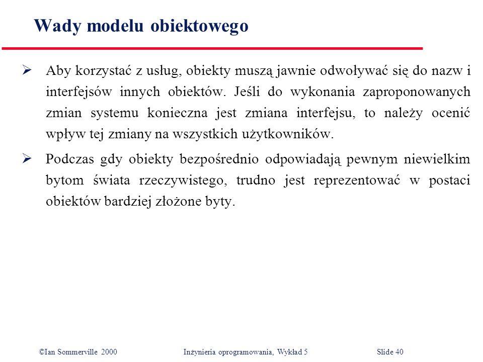©Ian Sommerville 2000 Inżynieria oprogramowania, Wykład 5 Slide 40 Wady modelu obiektowego Aby korzystać z usług, obiekty muszą jawnie odwoływać się d