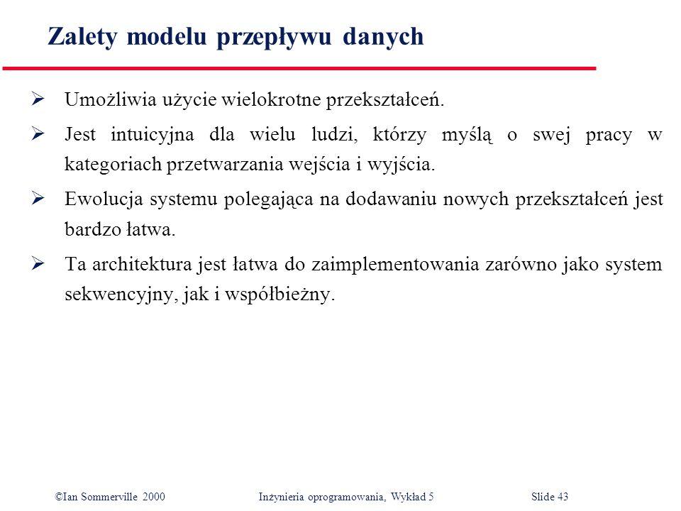 ©Ian Sommerville 2000 Inżynieria oprogramowania, Wykład 5 Slide 43 Zalety modelu przepływu danych Umożliwia użycie wielokrotne przekształceń. Jest int