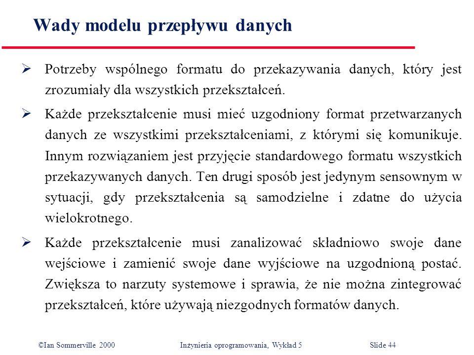 ©Ian Sommerville 2000 Inżynieria oprogramowania, Wykład 5 Slide 44 Wady modelu przepływu danych Potrzeby wspólnego formatu do przekazywania danych, kt