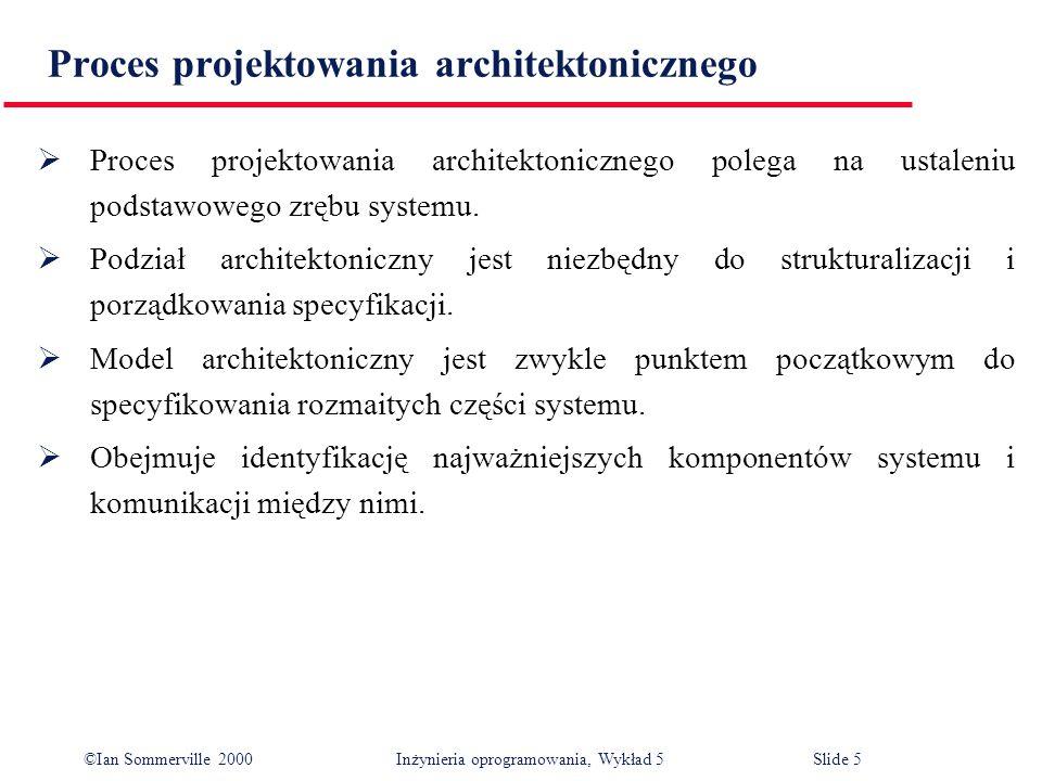 ©Ian Sommerville 2000 Inżynieria oprogramowania, Wykład 5 Slide 36 Rozkład na moduły Po zaprojektowaniu architektury strukturalnej następnym krokiem procesu projektowania architektonicznego jest podział podsystemów na moduły.
