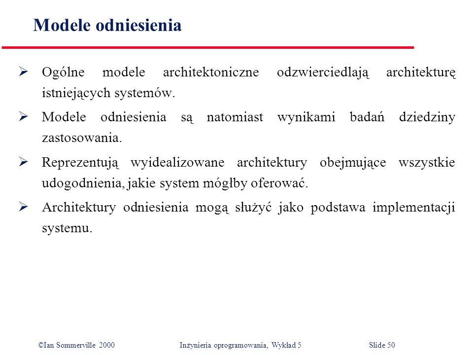 ©Ian Sommerville 2000 Inżynieria oprogramowania, Wykład 5 Slide 50 Modele odniesienia Ogólne modele architektoniczne odzwierciedlają architekturę istn