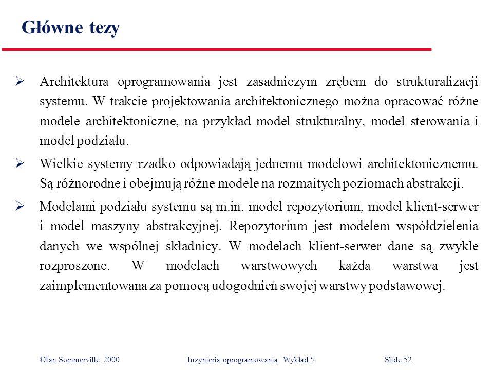 ©Ian Sommerville 2000 Inżynieria oprogramowania, Wykład 5 Slide 52 Główne tezy Architektura oprogramowania jest zasadniczym zrębem do strukturalizacji