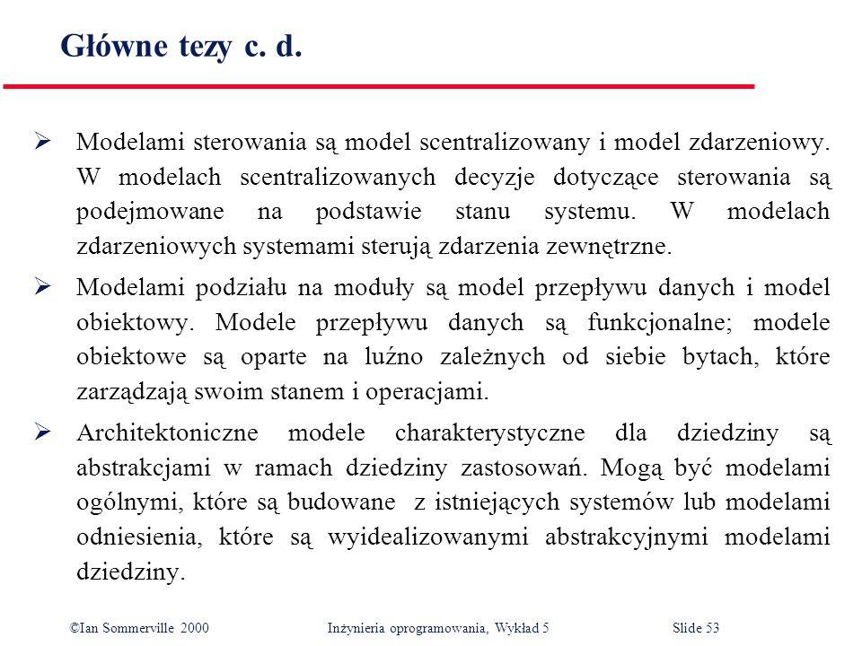 ©Ian Sommerville 2000 Inżynieria oprogramowania, Wykład 5 Slide 53 Główne tezy c. d. Modelami sterowania są model scentralizowany i model zdarzeniowy.