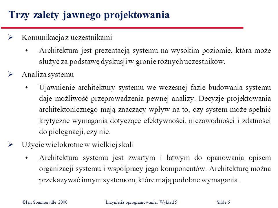 ©Ian Sommerville 2000 Inżynieria oprogramowania, Wykład 5 Slide 37 Modele obiektowe Model obiektowy architektury systemu dzieli system na zbiór luźno uzależnionych od siebie obiektów z dobrze zdefiniowanymi interfejsami.