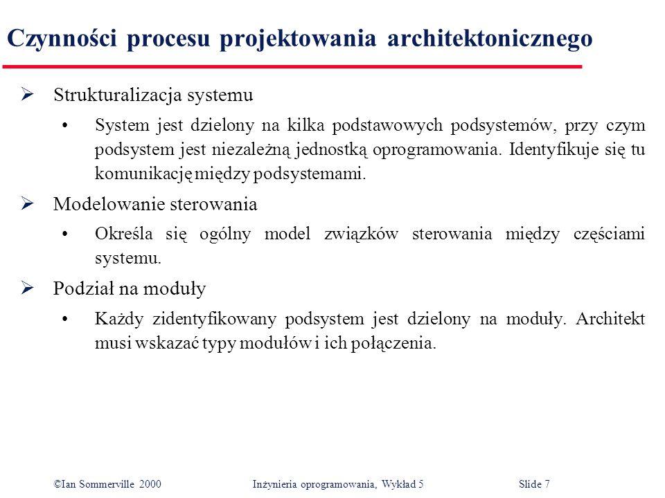 ©Ian Sommerville 2000 Inżynieria oprogramowania, Wykład 5 Slide 38 Model obiektowy systemu fakturowania Klient nr klienta nazwisko adres okres kredytowania Pokwitowanie nr faktury data kwota nr klienta Płatność nr faktury data kwota nr klienta Faktura nr faktury data kwota nr klienta wystaw() WyślijUpomnienie() przyjmijPłatność() wyślijPokwitowanie()