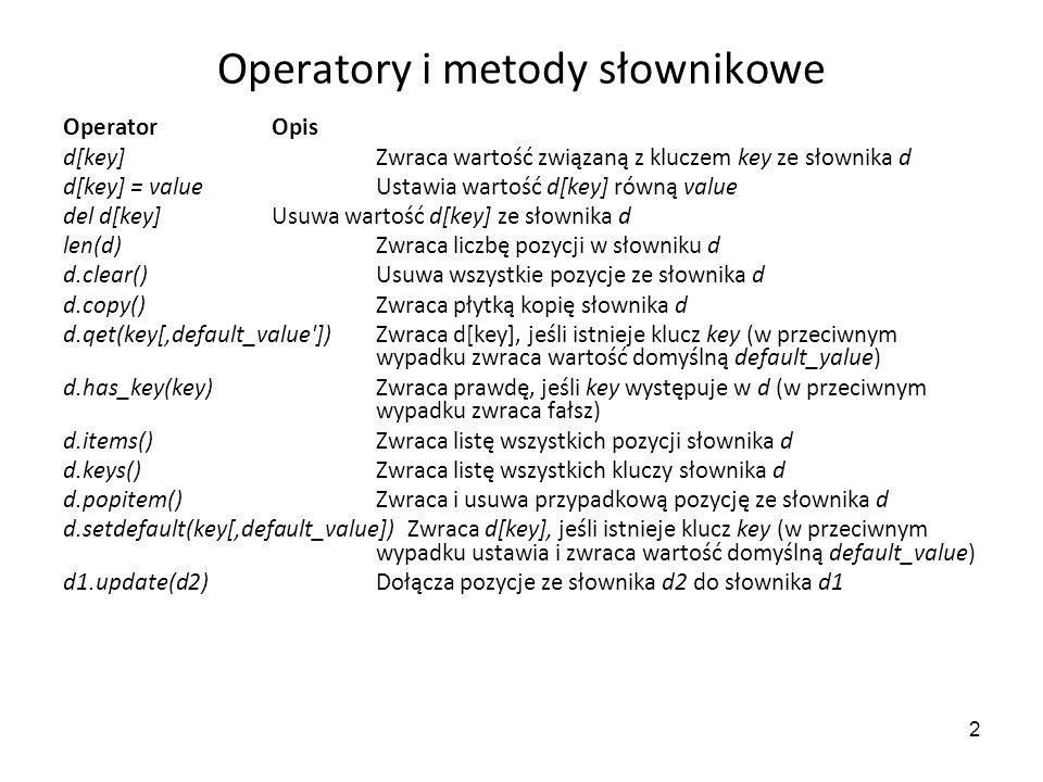 2 Operatory i metody słownikowe Operator Opis d[key] Zwraca wartość związaną z kluczem key ze słownika d d[key] = value Ustawia wartość d[key] równą v