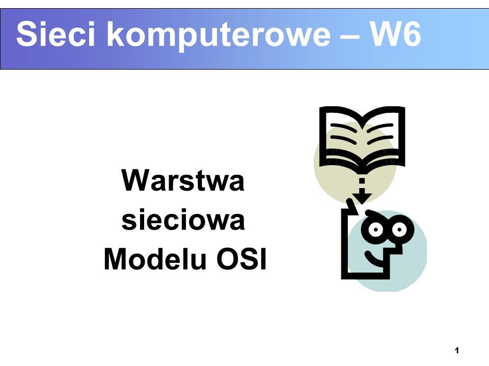1 Sieci komputerowe – W6 Warstwa sieciowa Modelu OSI