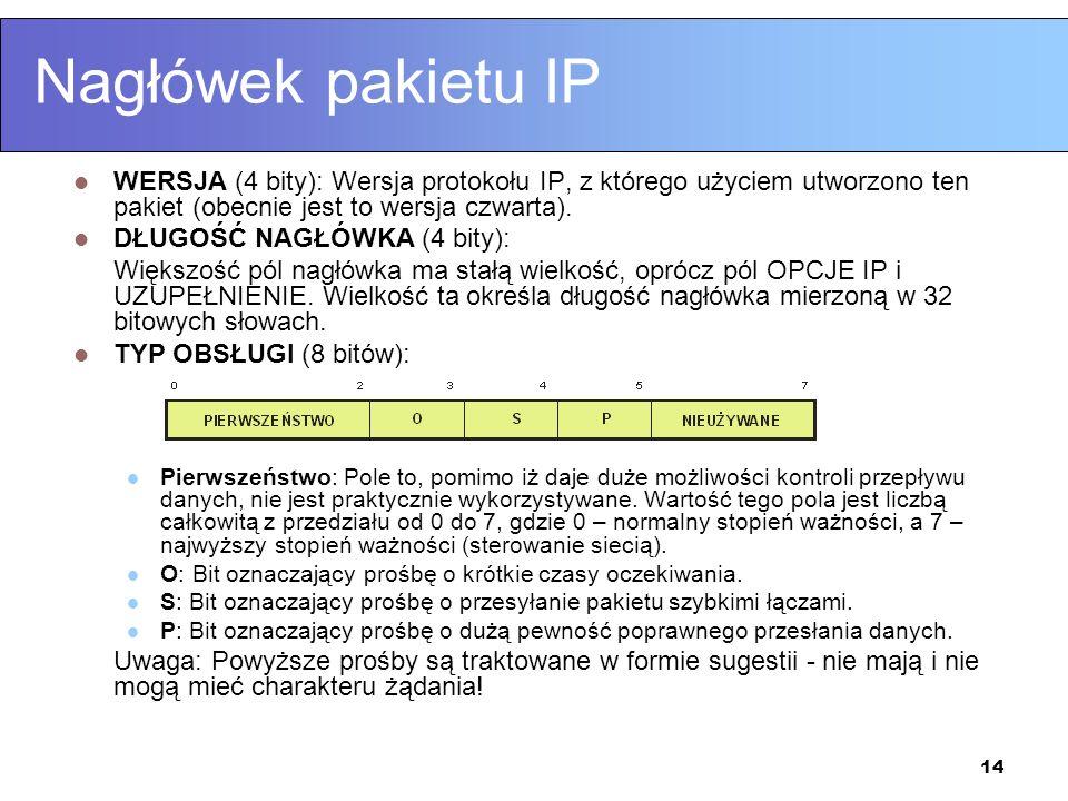 14 Nagłówek pakietu IP WERSJA (4 bity): Wersja protokołu IP, z którego użyciem utworzono ten pakiet (obecnie jest to wersja czwarta). DŁUGOŚĆ NAGŁÓWKA