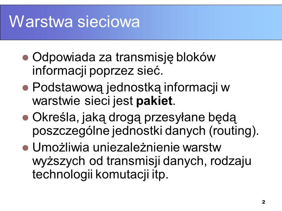 2 Warstwa sieciowa Odpowiada za transmisję bloków informacji poprzez sieć. Podstawową jednostką informacji w warstwie sieci jest pakiet. Określa, jaką