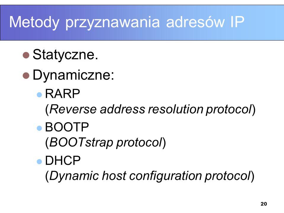 20 Metody przyznawania adresów IP Statyczne. Dynamiczne: RARP (Reverse address resolution protocol) BOOTP (BOOTstrap protocol) DHCP (Dynamic host conf