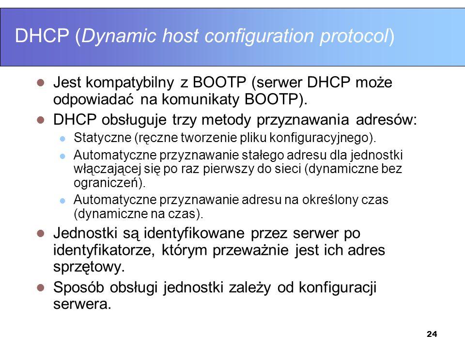 24 DHCP (Dynamic host configuration protocol) Jest kompatybilny z BOOTP (serwer DHCP może odpowiadać na komunikaty BOOTP). DHCP obsługuje trzy metody