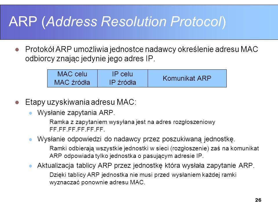 26 ARP (Address Resolution Protocol) Protokół ARP umożliwia jednostce nadawcy określenie adresu MAC odbiorcy znając jedynie jego adres IP. Etapy uzysk