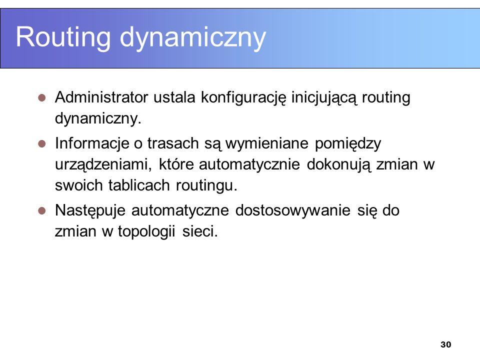 30 Routing dynamiczny Administrator ustala konfigurację inicjującą routing dynamiczny. Informacje o trasach są wymieniane pomiędzy urządzeniami, które
