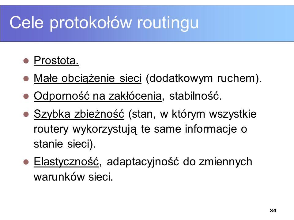34 Cele protokołów routingu Prostota. Małe obciążenie sieci (dodatkowym ruchem). Odporność na zakłócenia, stabilność. Szybka zbieżność (stan, w którym
