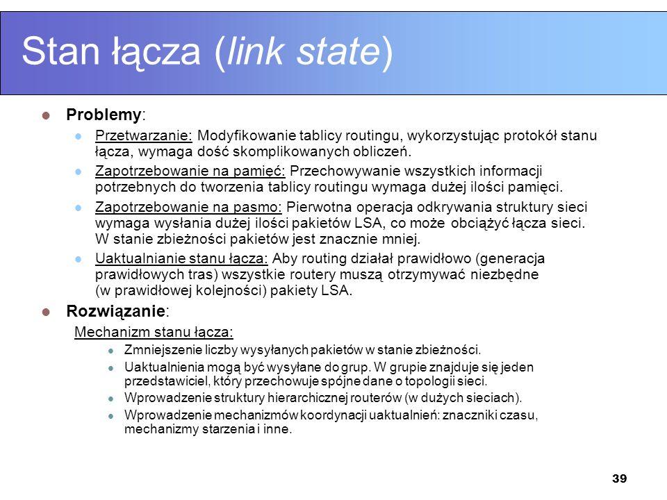 39 Stan łącza (link state) Problemy: Przetwarzanie: Modyfikowanie tablicy routingu, wykorzystując protokół stanu łącza, wymaga dość skomplikowanych ob