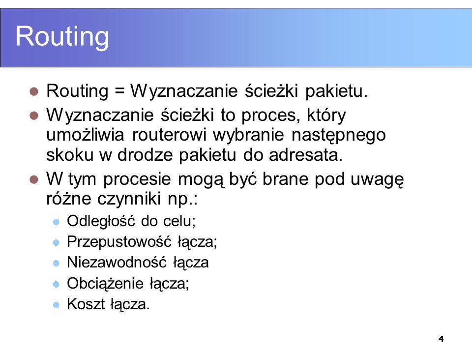 4 Routing Routing = Wyznaczanie ścieżki pakietu. Wyznaczanie ścieżki to proces, który umożliwia routerowi wybranie następnego skoku w drodze pakietu d