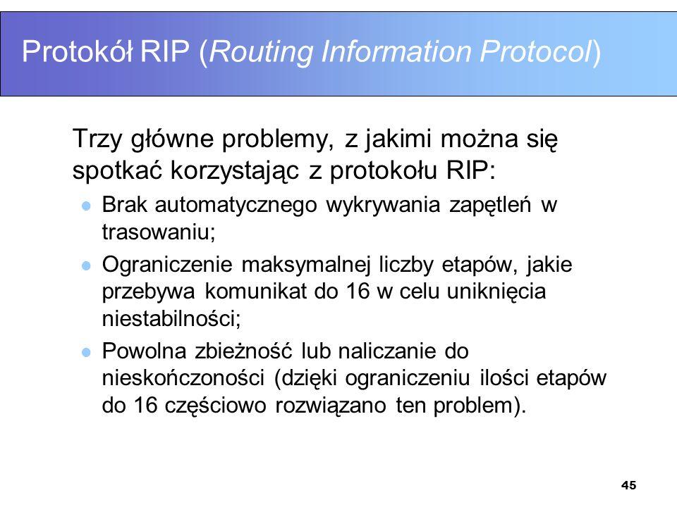 45 Protokół RIP (Routing Information Protocol) Trzy główne problemy, z jakimi można się spotkać korzystając z protokołu RIP: Brak automatycznego wykry