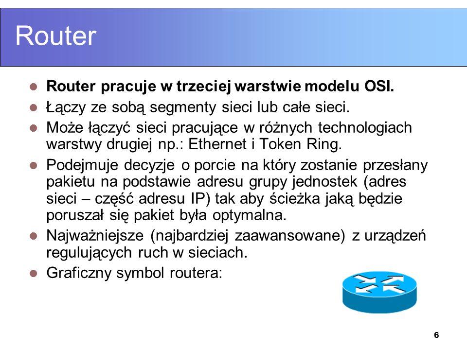 6 Router Router pracuje w trzeciej warstwie modelu OSI. Łączy ze sobą segmenty sieci lub całe sieci. Może łączyć sieci pracujące w różnych technologia