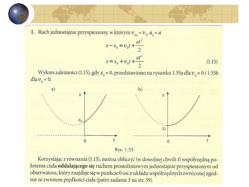 6) Położenie jako funkcja czasu w ruchu jednostajnie przyspieszonym.