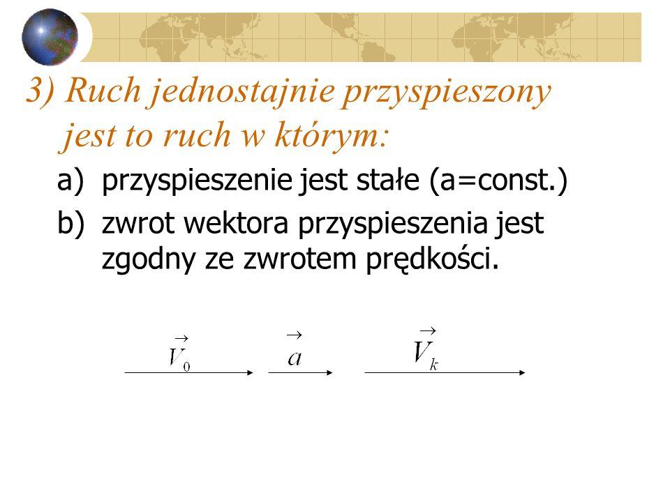 3) Ruch jednostajnie przyspieszony jest to ruch w którym: a)przyspieszenie jest stałe (a=const.) b)zwrot wektora przyspieszenia jest zgodny ze zwrotem prędkości.