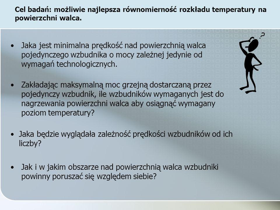 Zakładając maksymalną moc grzejną dostarczaną przez pojedynczy wzbudnik, ile wzbudników wymaganych jest do nagrzewania powierzchni walca aby osiągnąć wymagany poziom temperatury.