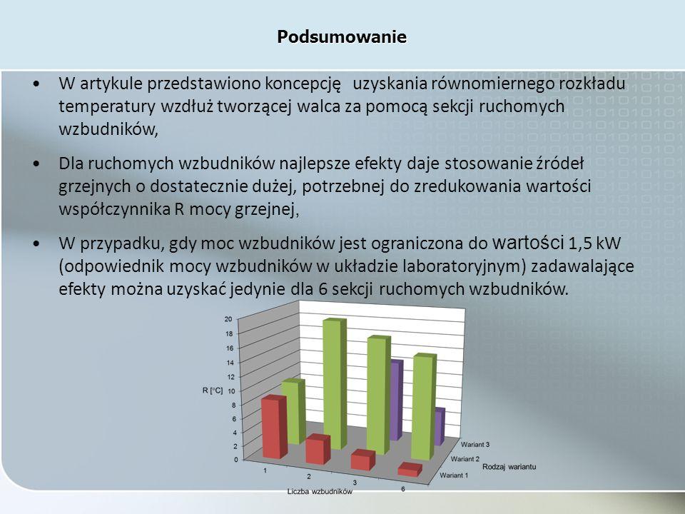 W artykule przedstawiono koncepcję uzyskania równomiernego rozkładu temperatury wzdłuż tworzącej walca za pomocą sekcji ruchomych wzbudników, Dla ruchomych wzbudników najlepsze efekty daje stosowanie źródeł grzejnych o dostatecznie dużej, potrzebnej do zredukowania wartości współczynnika R mocy grzejnej, W przypadku, gdy moc wzbudników jest ograniczona do wartości 1,5 kW (odpowiednik mocy wzbudników w układzie laboratoryjnym) zadawalające efekty można uzyskać jedynie dla 6 sekcji ruchomych wzbudników.