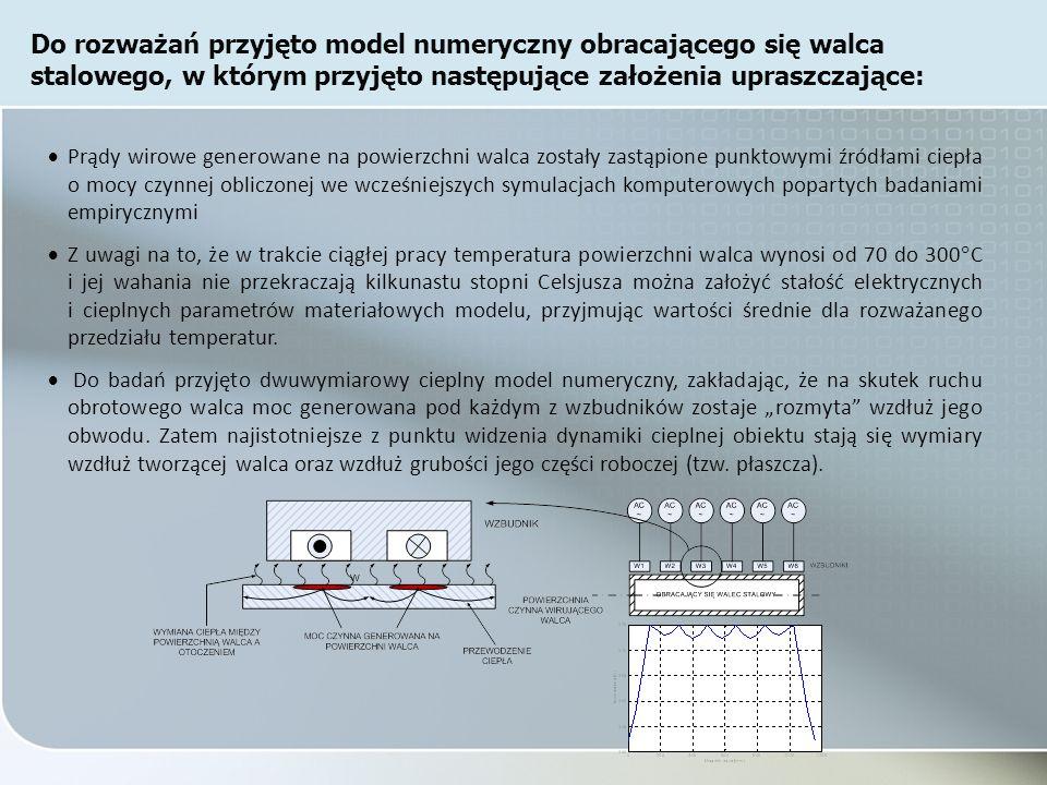 Prądy wirowe generowane na powierzchni walca zostały zastąpione punktowymi źródłami ciepła o mocy czynnej obliczonej we wcześniejszych symulacjach komputerowych popartych badaniami empirycznymi Z uwagi na to, że w trakcie ciągłej pracy temperatura powierzchni walca wynosi od 70 do 300 C i jej wahania nie przekraczają kilkunastu stopni Celsjusza można założyć stałość elektrycznych i cieplnych parametrów materiałowych modelu, przyjmując wartości średnie dla rozważanego przedziału temperatur.