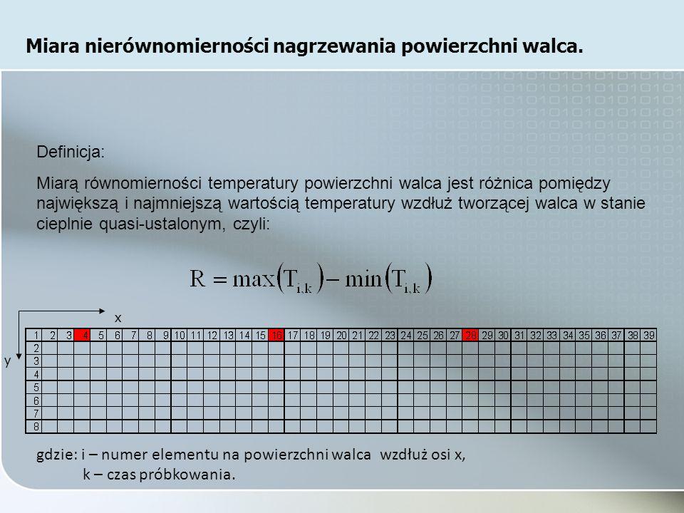 Definicja: Miarą równomierności temperatury powierzchni walca jest różnica pomiędzy największą i najmniejszą wartością temperatury wzdłuż tworzącej walca w stanie cieplnie quasi-ustalonym, czyli: gdzie: i – numer elementu na powierzchni walca wzdłuż osi x, k – czas próbkowania.