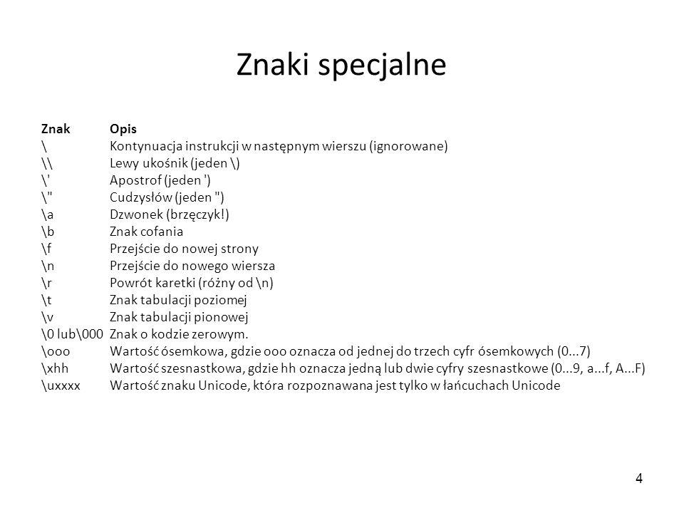 45 Rozdzielanie łańcucha na wiersze s.splitlines([keepends]), zwraca listę zawierającą wiersze łańcucha s.