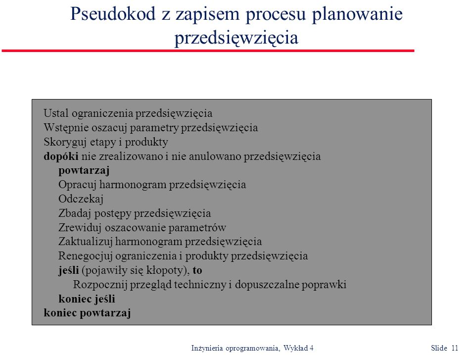 Inżynieria oprogramowania, Wykład 4 Slide 11 Pseudokod z zapisem procesu planowanie przedsięwzięcia Ustal ograniczenia przedsięwzięcia Wstępnie oszacu