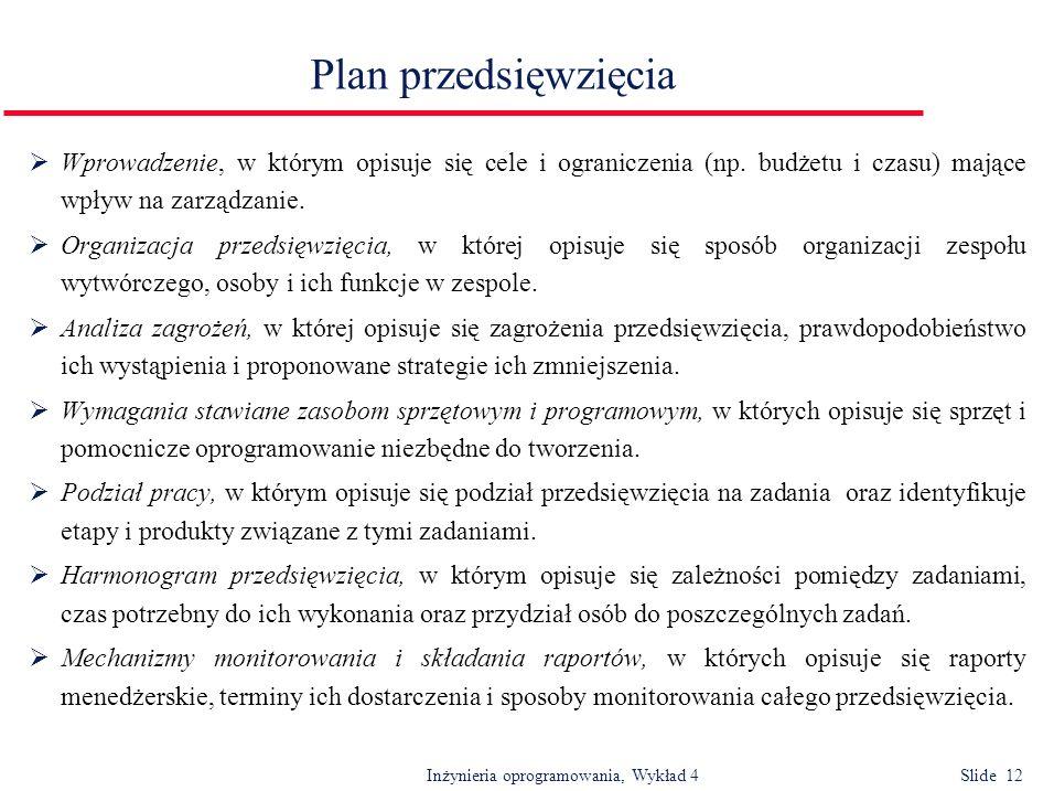 Inżynieria oprogramowania, Wykład 4 Slide 12 Plan przedsięwzięcia Wprowadzenie, w którym opisuje się cele i ograniczenia (np. budżetu i czasu) mające