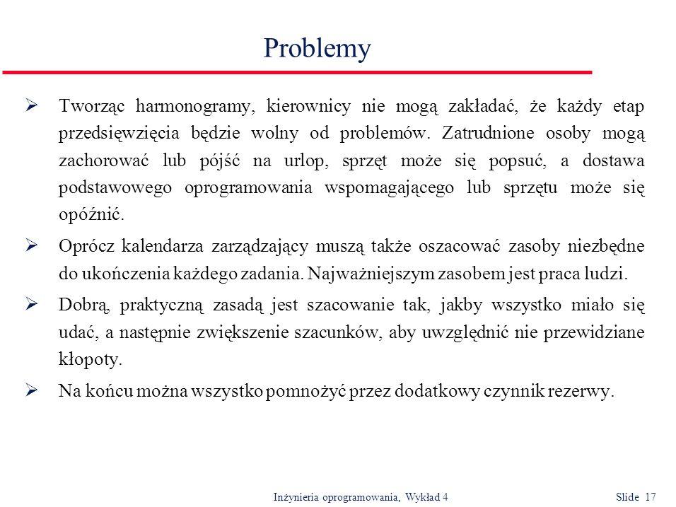 Inżynieria oprogramowania, Wykład 4 Slide 17 Problemy Tworząc harmonogramy, kierownicy nie mogą zakładać, że każdy etap przedsięwzięcia będzie wolny o